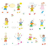 Happy learning kids. Happy learning school kids doodles collection isolated on white, student profile hand drawn characters Stock Images