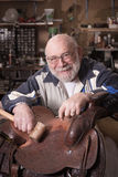 Happy Leather Worker stock photography