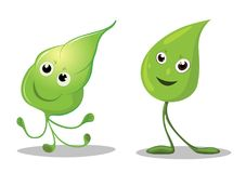 Happy leaves cartoon characters, Leaf Mascot. Vector illustration Stock Image