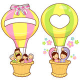 Happy Leaving the family balloon trip. Home and Family Character Royalty Free Stock Photography