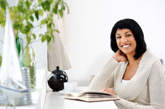 Happy leisure woman with book Royalty Free Stock Photo