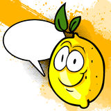 Happy Lemon with speech bubble Royalty Free Stock Images