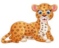 Happy leopard cartoon lay down. Illustration of Happy leopard cartoon lay down Stock Photo