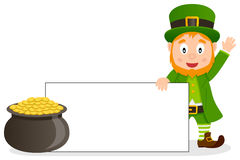 Happy Leprechaun with Blank Banner Stock Photography