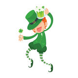 Happy Leprechaun Holding Clover and Green Beer. Stock Photos