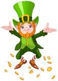 Happy Leprechaun. Illustration of joyful jumping leprechaun Stock Images