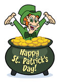 Happy Leprechaun in pot of gold Royalty Free Stock Photography