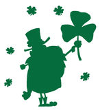 Happy Leprechaun With Shamrock Green Silhouette. Leprechaun With Shamrock Green Silhouette stock illustration
