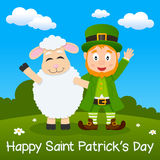 Happy Leprechaun & Sheep in a Meadow Royalty Free Stock Photos