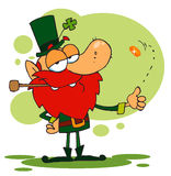 Happy Leprechaun Smoking A Pipe. And Flipping A Gold Coin stock illustration