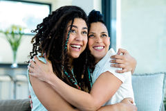 Happy lesbian couple embracing each other and smiling Royalty Free Stock Photography