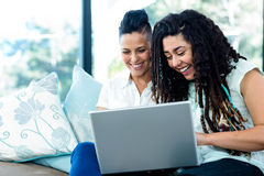 Happy lesbian couple using laptop Stock Image