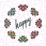 Happy lettering with henna ornamental frame Royalty Free Stock Photos