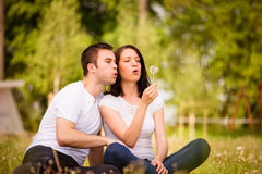 Happy life - couple blowing dandelions Stock Images