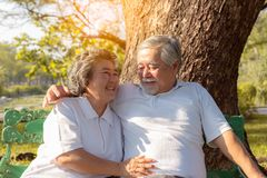Happy life and long lived concept. Beautiful older woman feel happiness when grandma stay with beloved husband or grandfather. stock photo