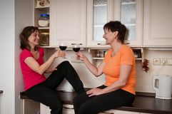 Happy life - mother and daughter drinking wine Royalty Free Stock Images