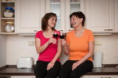 Happy life - mother and daughter drinking wine Stock Image