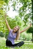 Happy life - woman enjoys outdoors Royalty Free Stock Image