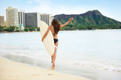 Happy lifestyle surf woman surfer in Waikiki beach Stock Image