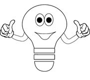 Happy light bulb cartoon. A sketch or cartoon of a smiling light bulb with both thumbs up Stock Images