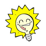 Happy light bulb comic cartoon Stock Photography