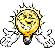 Happy Light Bulb with Hands Cartoon Stock Photos