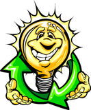 Happy Light Bulb with Hands Holding Recycle Symbol. Cartoon Light Bulb with Smiling Face holding recycling arrows for energy savings Royalty Free Stock Photography
