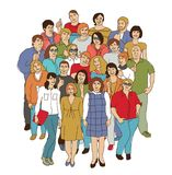 Happy like adult group casual Caucasian people isolate white Stock Photo