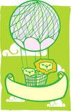 Happy Lion Balloon Banner. Two lions in a pink balloon with banner Stock Photos