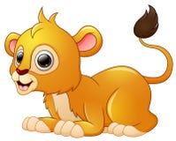 Happy lion cartoon lay down. Illustration of Happy lion cartoon lay down Royalty Free Stock Photo