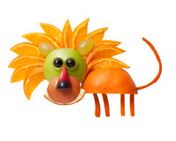 Happy lion made of fruits. On isolated background Royalty Free Stock Photography