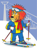 Lion is mountain skier. The happy lion in a mountain-skiing suit and on skis costs on a hillside before the mountain elevator Royalty Free Stock Photography