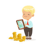 Happy lirrle boy businessman counting his money, kids financial business vector Illustration. Isolated on a white background Stock Photos