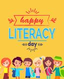 Happy Literacy Day Poster Vector Illustration Stock Images