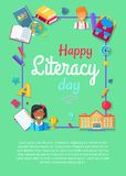 Happy Literacy Day Poster with Icons of Stationery Royalty Free Stock Images