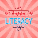 Happy Literacy Day Vector Illustration. Happy Literacy Day wish with leafs and doodles. Vector illustration contains multicolored text on bright pink background Royalty Free Stock Images