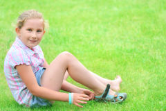 Happy litlle girl - outdoor. Royalty Free Stock Image