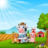 Happy little animals in the farm Stock Image