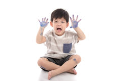 Happy little asian boy with dirty hand Stock Image