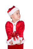 Happy little asian boy giving a gift. Happy Christmas child with Stock Images