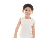 Happy little asian boy on white background Stock Photography