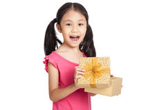Happy Little asian girl open gift box Royalty Free Stock Image
