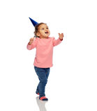 Happy little baby girl with birthday party hat Royalty Free Stock Photos