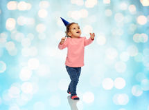 Happy little baby girl with birthday party hat Royalty Free Stock Images