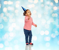 Happy little baby girl with birthday party hat Stock Photography