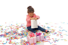 Happy little baby girl with birthday presents Stock Photography