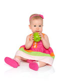 Happy little baby girl in bright multicolored festive dress with Royalty Free Stock Image