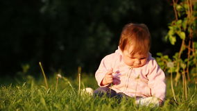Happy little baby-girl seated on the green grass in the park at sunset. stock video footage