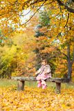 Happy little baby girl sitting on a bench laughing and playing with leaves. In nature, walk in the open air.  Royalty Free Stock Photos