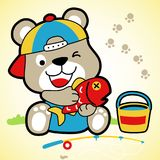 Funny little bear cartoon vector with big fish. Happy little bear with big fish, fishing tackle, bucket.  vector cartoon illustration, no mesh, vector on EPS 10 Royalty Free Stock Photos
